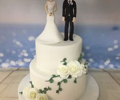 Bride and groom with sugar flowers