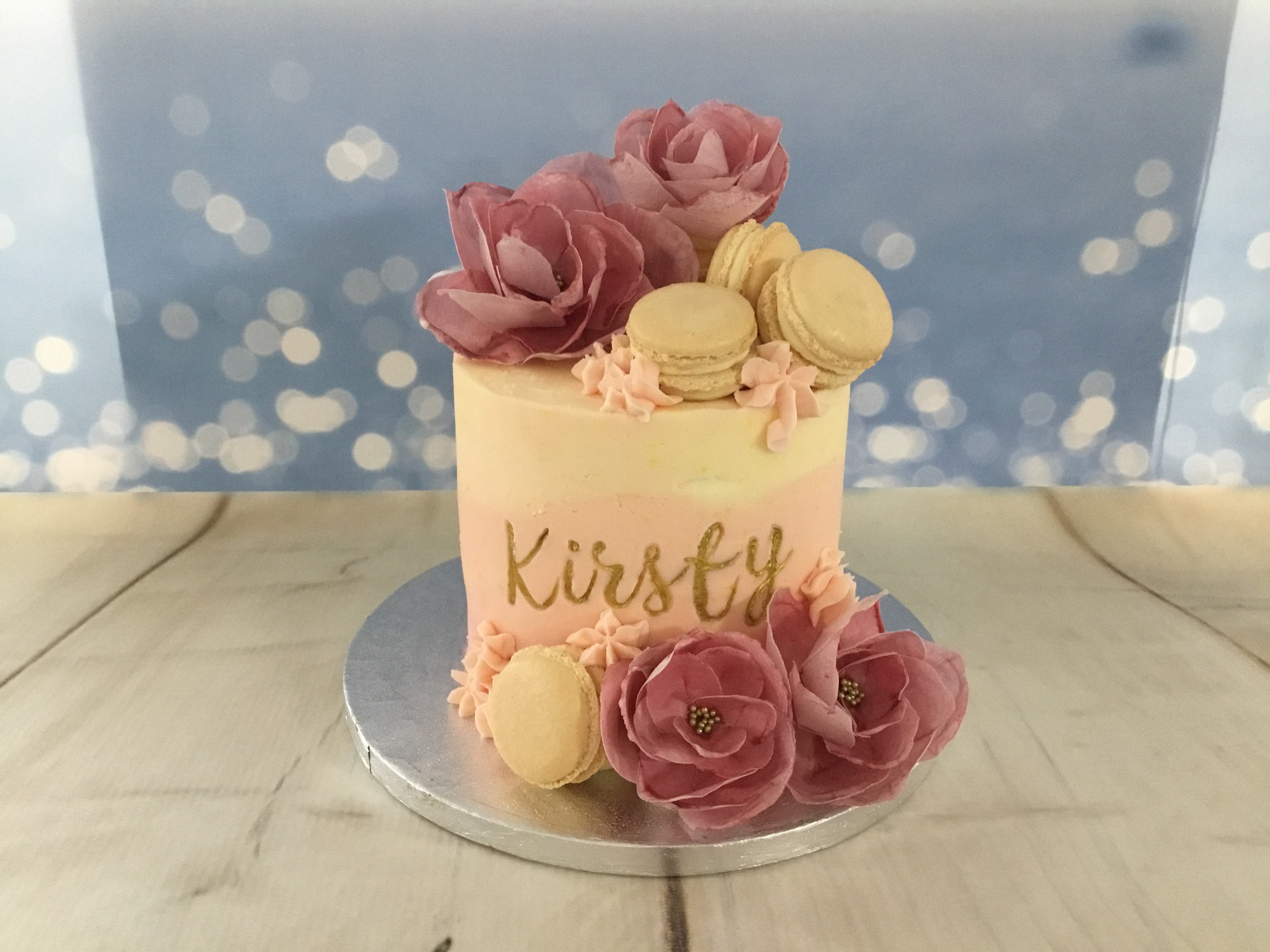 Wafer paper flowers with macarons